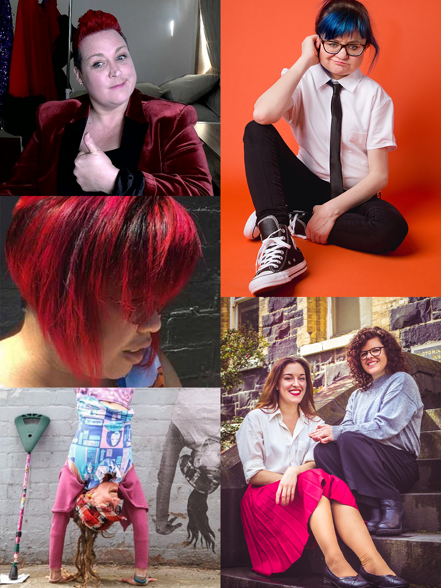 Image: A collage of images of the article's five subjects. Clockwise from top left: Jacci Pillar seated at their desk recording their community TV show, with costumes hanging behind them, dressed in a burgundy red velvet jacket and giving a thumbs up.Then Jessica Knight a fair skinned woman with blue hair, wearing glasses, a white shirt sleeved shirt and a black tie. She's sitting in an orange room. Then, lana Gelbert and Jess Moody. Two fair skinned women sit on steps. On the left is Ilana, who had long straight light brown hair, and is wearing a white shirt. On the right is Jess, who has dark curly hair that falls past her shoulders, and she's wearing a light grey top and black pants. Then, Larissa MacFarlane: a photo of a woman doing a handstand on a wall. She has fair skin. She is wearing brightly coloured layered clothes and has long dreadlocks and a red tartan peak cap on her head. Next to her is a colourful cane. On the wall is a black and white paste up of the same woman doing a handstand. Finally, cubbie mako: a photo of a person's head and shoulders. They have brown skin. Their face is barely visible because bright shaggy, red hair with dark highlights frames their head. They are a dark brick wall.