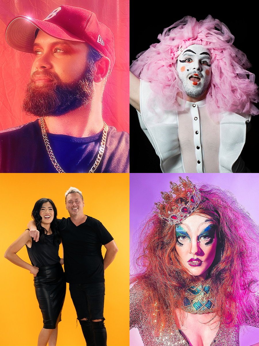 """Four images in a collage. Clockwise from top left, 1""""Photo of Garret Lyon with his head turned to the side wearing a red cap, black shirt and shining gold chain. 2 A person in white makeup and pink hair throwing a pink sheet. 3 Woman in drag with wild hair pouts seductively against a pink background.. 4 A woman and a man dressed in black standing in front of an orange background."""