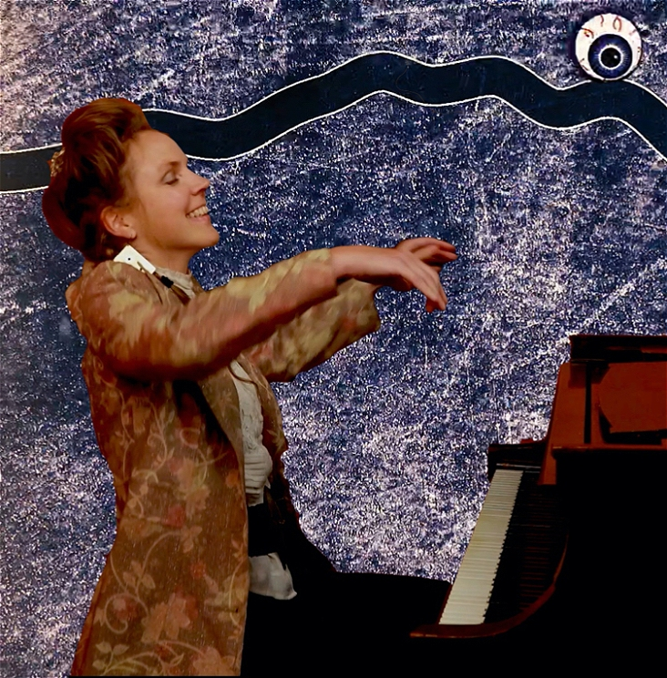 A woman in a tailcoat is seated at a piano with both hands in the air in a sweeping gesture, grinning with eyes closed and head thrown back in joy. The background is a speckled navy blue and white texture, with a thick navy blue line snaking horizontally across the upper quarter of the image. An eyeball with a dark blue cornea is rolling along the navy blue line like a pinball in the top right hand corner.