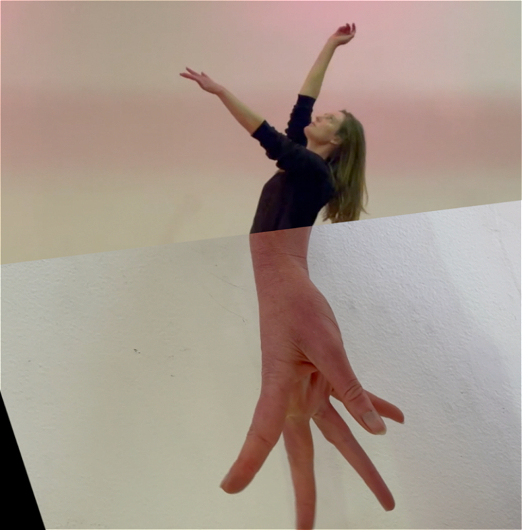 Collage image of the top half of a dancer with arms raised, spliced onto a hand, in place of her legs.