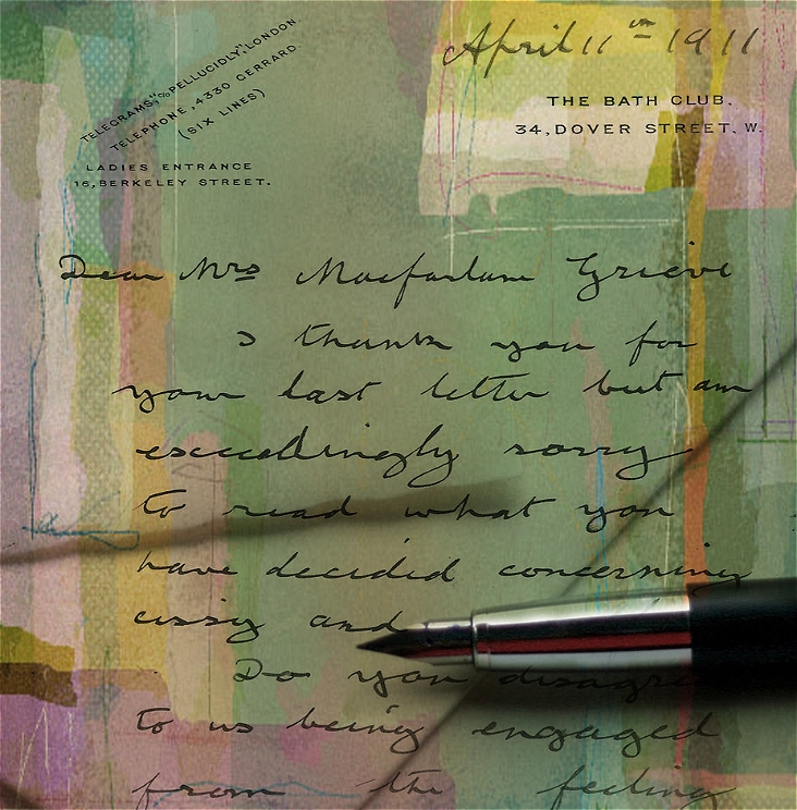 Image: a letter on green paper with calligraphy (unreadable) and a fountain pen laying on top.
