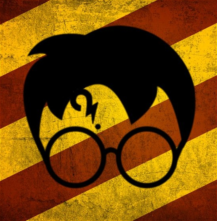 Logo of Potter featuring glasses, messy hair and a question mark scar on a orange and yellow background.