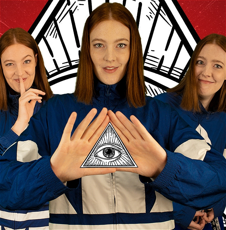 Three Lou Wall's stand in frame against a red background. They are dressed identically in a blue sports jacket and have straight red hair. The middle Lou is holding up a triangle symbol with their hands into which an Illuminati Logo is superimposed. The other two Lou's have bemused expressions.