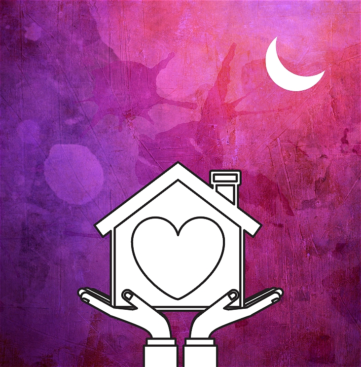 A purple backdrop with a crescent moon in the top right corner. A hand-drawn image of two hands hold up a house . A heart shape is at the centre of the house and the house has a chimney on the right edge of its roof.