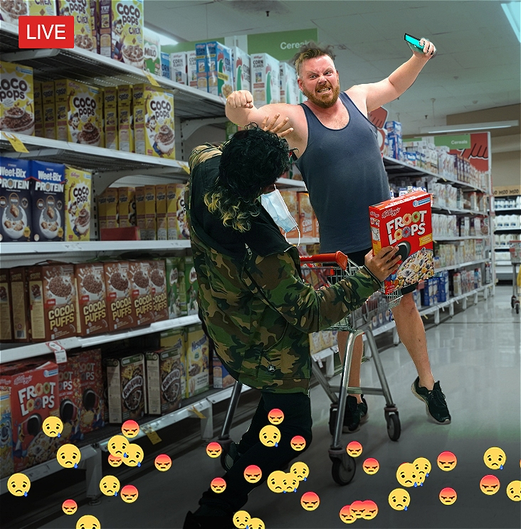 An enraged man punches at a terrified shopper over a trolley in a supermarket aisle, who falls back, their mask flying off. The attacker is holding a phone, which he appears to be livestreaming from; the entire incident is also being livestreamed, and a wave of angry & sad reacts line the bottom of the image.