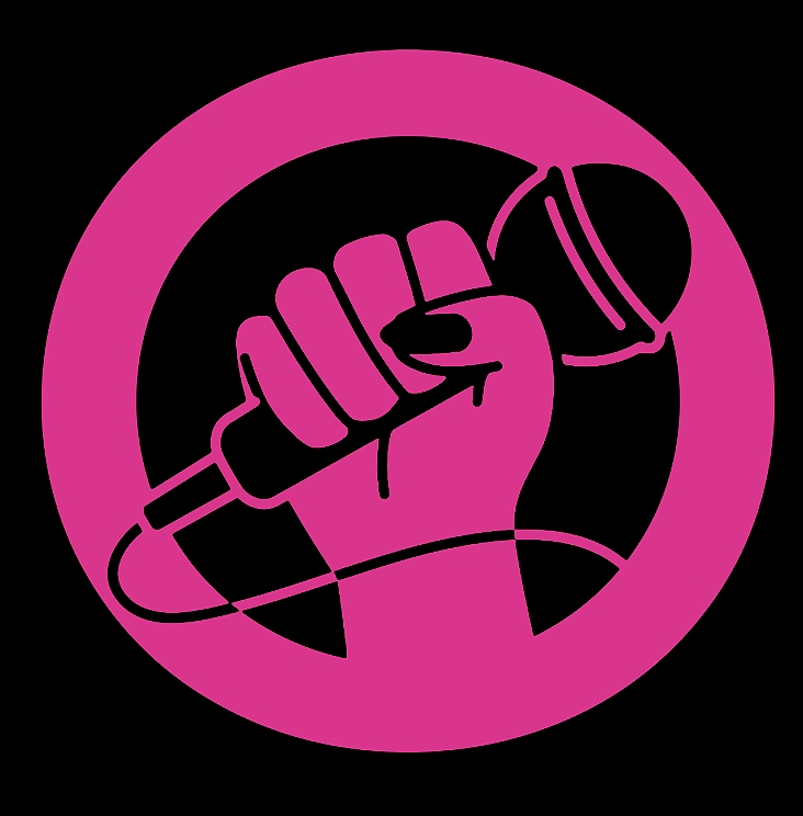 A stylised graphic design, depicting a raised hand clutched in a fist around a microphone. The design is hot pink against a black background.