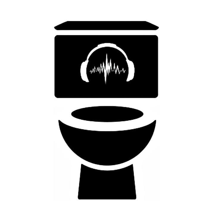 Image: a black and white graphic of a toilet seat, the base, bowl and cistern are black on a white background. On the cistern is a picture of a white pair of headphones with a sound wave running between the earphones. The words Audible Cubicle are written vertically from top to bottom on the left and right hand sides of the toilet respectively.