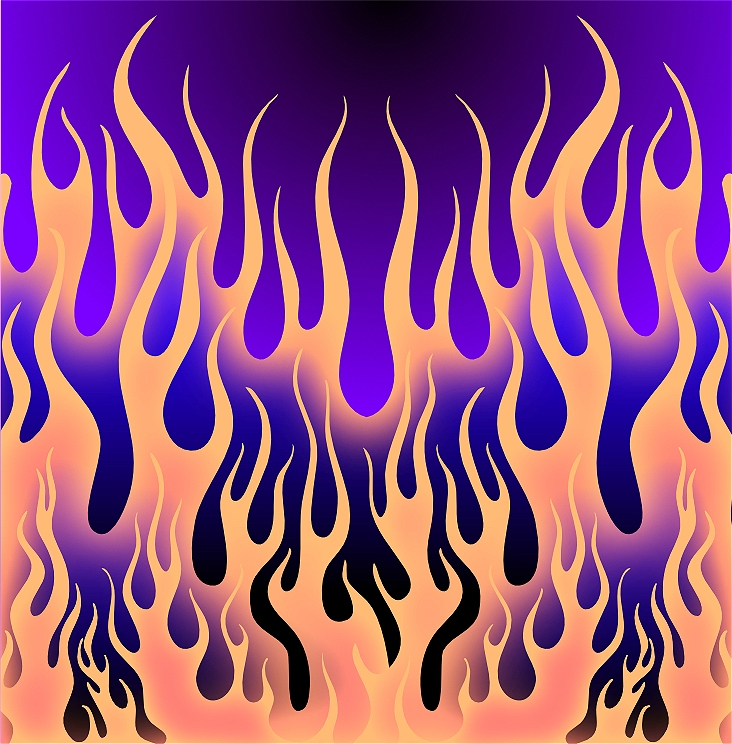 This image is an illustration of a fire. The background is dark purple. There are orange flames in the foreground and middle ground.