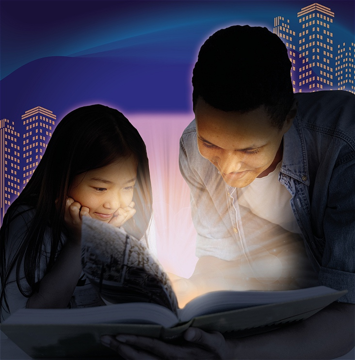 A girl and a man are looking at an open book that is emitting a glowing light. Behind them skyscrapers are lit up in the dark.