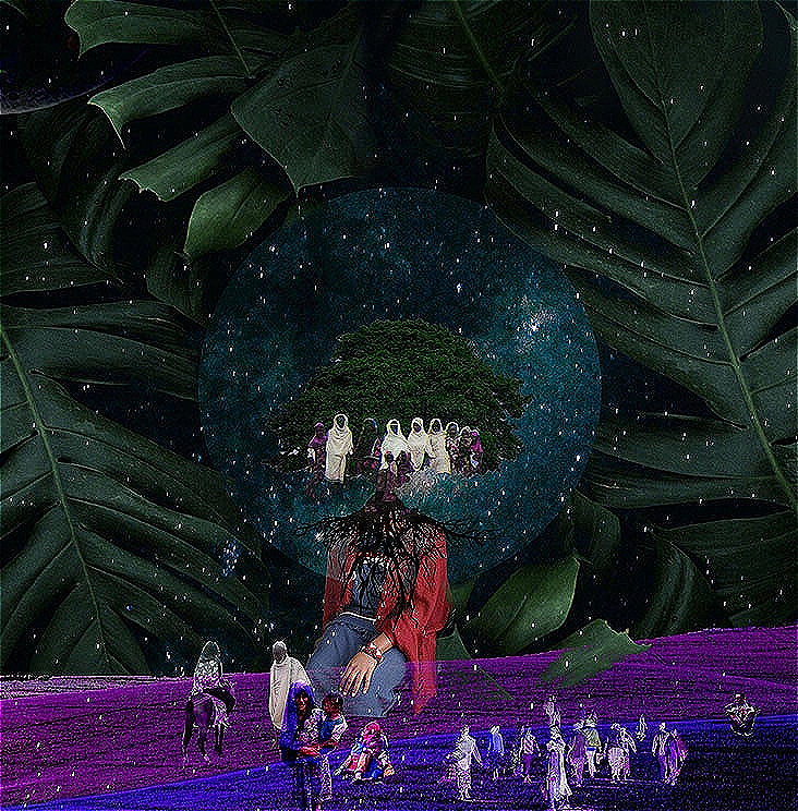 A hyper saturated illustration featuring rich jewel colours of green, blue, purple and red featuring people of Oromo culture in the foreground including a mother and child, against a background of leaves, and with the central focal part of the illustration featuring a woman, a tree and a moon.