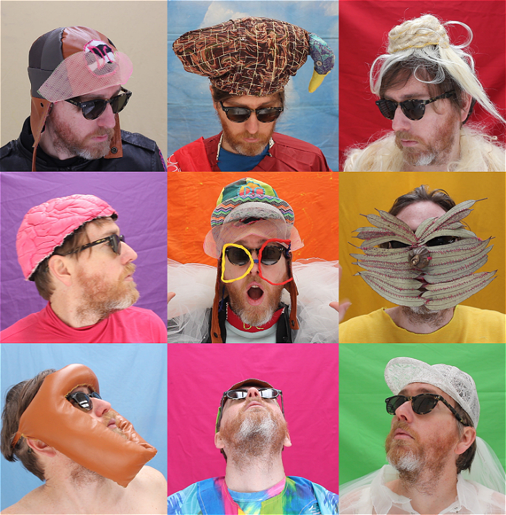 This is a grid display of photos of DC wearing his own DIY headwear.