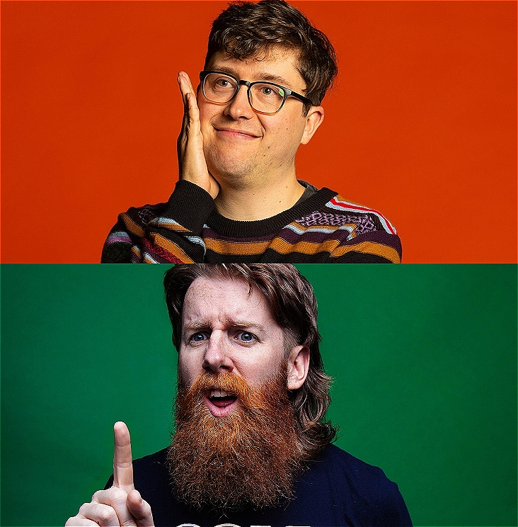 A composite image. The top image is comedian Alasdair-Tremblay-Birchall wearing glasses and wrapped in fairy lights on a light colour background. The bottom image is Matt Stewart red beard and wearing a cold chisel t-short on a green background with a confused expression holding one finger up.