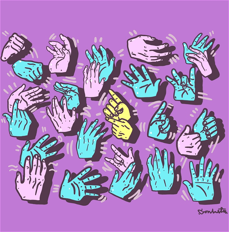 Varied animated hands coloured pastel pink and light blue are scattered across a violet background. The hands have black outlines highlighting wrinkles and details. In the centre, are two hands in pastel yellow.