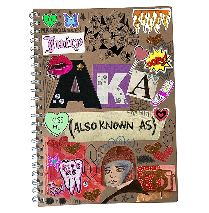 The cover of a teenager's spiral bound school book covered with garish stickers, including a heart saying kiss me, a cartoon tooth saying bite me, a lollipop, a butterfly and some glitter hearts. AKA in large cut-out letters is the centre piece under which is a strip of masking tape that says ALSO KNOWN AS in handwritten capitals that have been emphasised in black ballpoint.