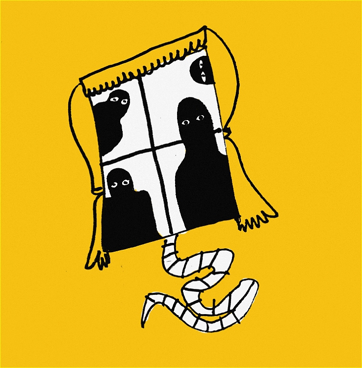 A line drawing of a curtained window on a yellow background. In the window, four shadowy figures with wide white eyes are visible. A white rat's tail pokes out from under the window.