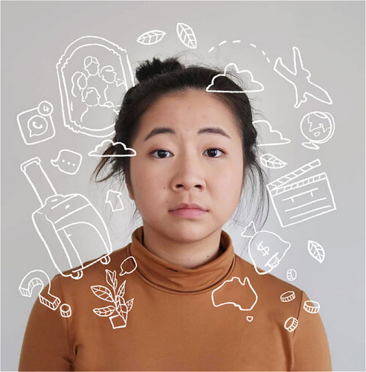 Against a plain white background, a female in her mid 20s with a messy bun wearing an orange-brown long sleeve turtle neck. Her expression is that of a slight frown. There are white doodles surrounding her as if intruding her space. Namely: clouds, a family photo frame, a suitcase, a plant with a speech bubble, Australia, coins falling out from a money bag, an aeroplane flying away, a globe, a whatsapp logo with notifications, leaves and a film clapper board.